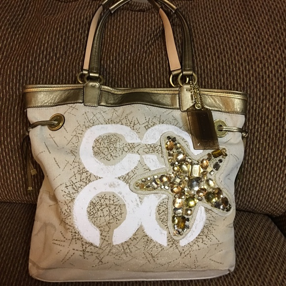 Coach Handbags - COACH AUDREY JEWELED STARFISH N/S Logo Tote
